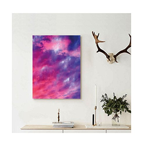Liguo88 Custom canvas Sky Decor Magical Cloudy Sunset Idyllic Shades of Pink on Air Gradient Fading Moody Picture Wall Hanging for Purple (Moody Christmas Blues The Album)