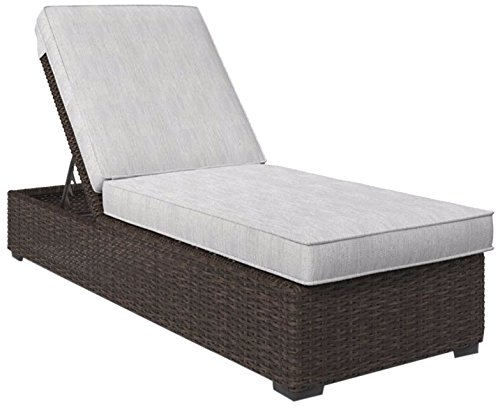 Ashley Furniture Signature Design - Alta Grande Outdoor Chaise Lounge with Cushion - Adjustable - Beige & (7' Long Outdoor Bench)