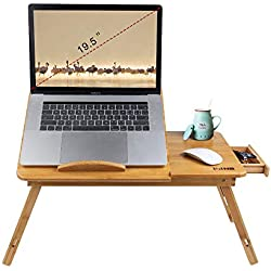Bamboo Wood Laptop Desk Tray Foldable Breakfast Tray Table Adjustable Computer Bed Tray for Eating Laptops Writing Reading on Bed Sofa Coach with Drawer Tilting Desktop Leg (Upgraded,Thicken)