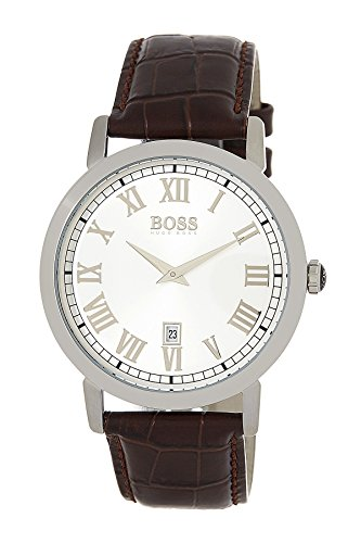 Hugo boss Men's Silver Dial Classic Brown Leather Strap Watch 1513142