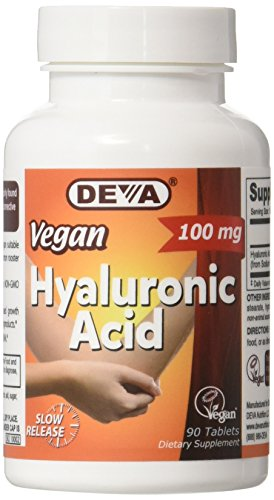 Deva Vegan Vitamins Hyaluronic Acid 100 Mg Tablet, 90 Count (Mg 100 Acid Tabs)