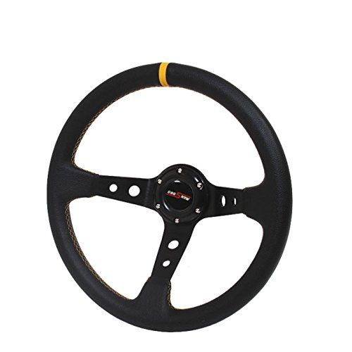 350mm Deep Dish Steering Wheel 6 Bolt Universal Custom (Gold Center JDM (3 Dish Steering Wheel Wheels)