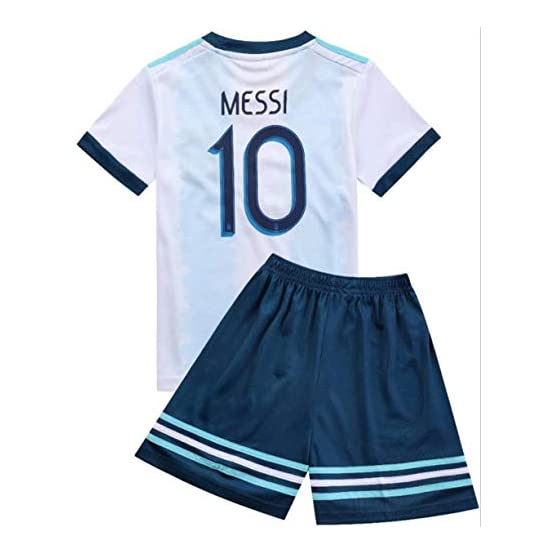 FFF Football World Cup/Home Argentina Jersey/Argentine 2018 Home Football Jerseys Children's Football Training Clothes T-Shirt Shorts/Size Standard,White,22