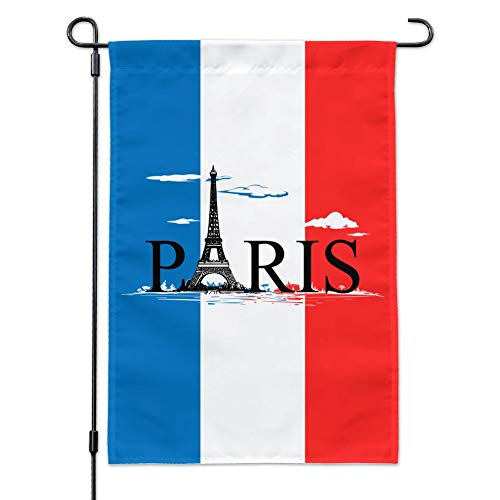 Tower and Flag with Clouds Garden Yard Flag with Pole Stand Holder ()