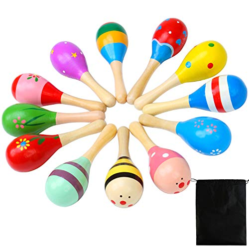 Resinta Wooden Maracas 12 Pieces Colorful Mini Neon Maracas with Adorable Pattern Designs Mexican Fiesta Party Favors Classroom Musical Instruments Noisemaker