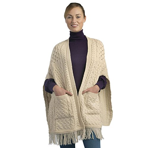 100% Irish Merino Wool Ladies Pocket Shawl by West End Knitwear