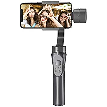 Reduce Shaking,Pan-tilt Tripod with Built-in Bluetooth Remote for iPhone 11//11 Pro//X//Xr//6s,Samsung S10+//S10//S9//S8,Huawei P30 Pro 1-Axis Handheld Gimbal Stabilizer for Smartphone,Auto Balance White