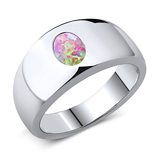 Gem Stone King 1.05 Ct Oval Cabochon Pink Simulated Opal 925 Sterling Silver Men's Ring (Size 7) ()