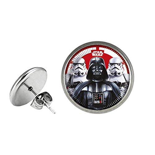 Star Wars Post Stud Premium Quality Silvertone Earrings Darth Vader Stormtrooper Yoda C3PO R2D2 Rebel