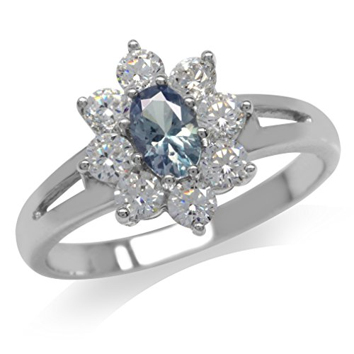 Simulated Color Change Alexandrite & White CZ Gold Plated 925 Sterling Silver Flower Cluster Ring Size 6