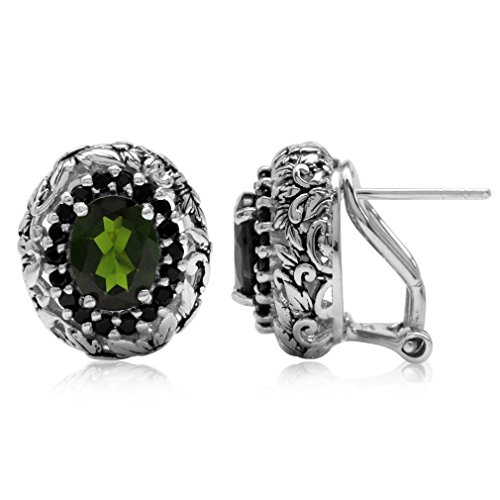 2.62ct. Green Chrome Diopside & Black Spinel 925 Sterling Silver Vintage Style Omega Clip Earrings Vintage Sterling Silver Clip