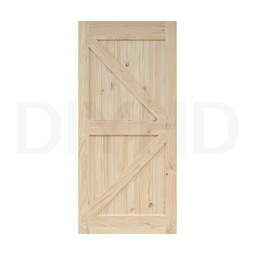 38 in84 in Pine Knotty Sliding Barn Wood Door Slab Two-si...
