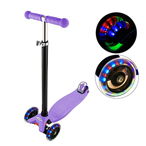 Adjustable Folding Alloy 3 Big Wheel Kick Scooter for Kids 2-14 Years, Adjustable Height with Handle T-Bar (Style 3: Purple) ()