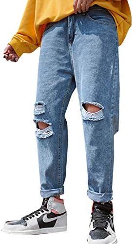 (バイバン)ジーンズ メンズ ダメージ デニムパンツ ゆったり カジュアル ロングパンツ 9分丈 ファッション クラッシュパンツ おしゃれ ストリート ストレートパンツ 無地 ジーパン