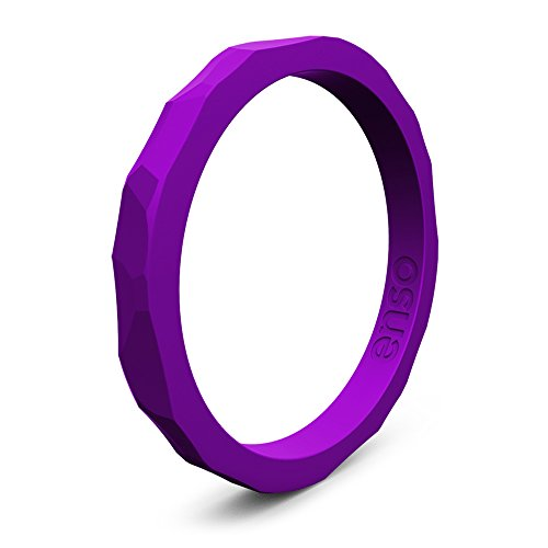 Enso Silicone Ring/Wedding Band. Hammered Design for Men and Women Color: Royal Purple. Size: 10