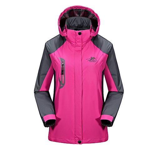 Pink Moc Croc (BENNINGCO Womens Outdoor Jacket Raincoat Hiking Ski jacket waterproof Rain)