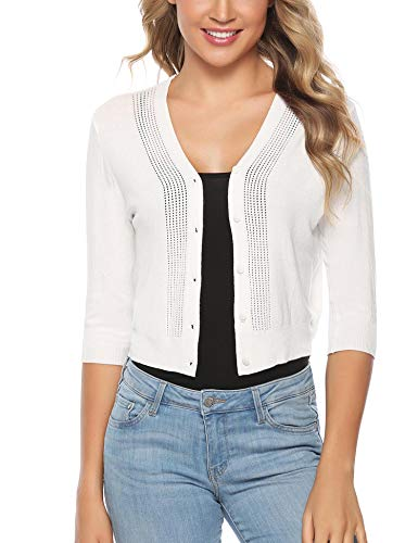 iClosam Women Knitted Bolero Shrug 3/4 Sleeve Cropped Cardigan Sweater (#3White(3/4 Sleeve), Small)