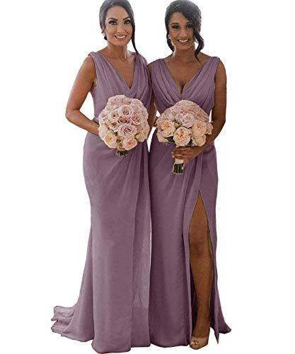 Plus Size Double V Neck Ruffled Slit Chiffon Bridesmaid Dress Long Formal Evening Prom Dresses Wisteria US20 Plus -