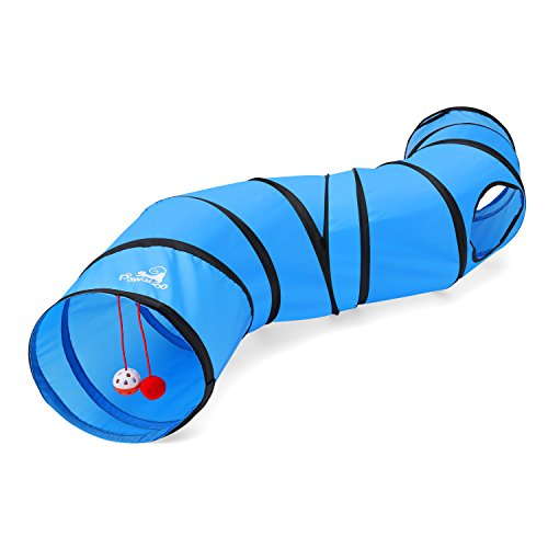 PAWABOO Cat Tunnel, Premium S-Shaped Tunnels Collapsible Cat Play Tunnel Toy Interactive Cat Tube with Pompon and Bells for Cat Puppy Kitten Rabbit, Blue