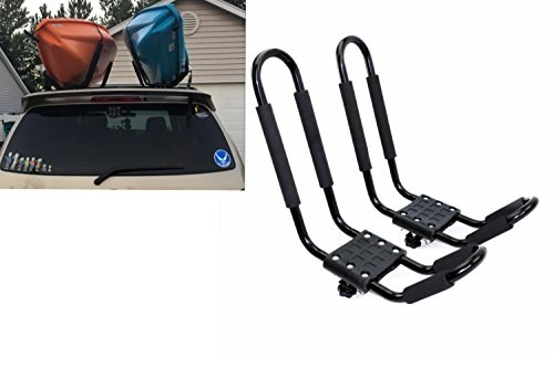 Mrhardware A01 Kayak Roof Rack for SUV Car Top Roof Mount Carrier J Cross Bar Canoe Boat (1 Pairs) (Ladder Strap Snowboard)