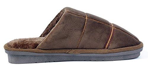 AgeeMi Shoes Unisex Erwachsene Rund Schließen Zehe Pantoffeln Flache Hausschuhe Kaffee