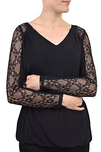 Qed London - Camiseta de manga larga - para mujer negro