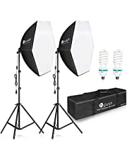 $59 » HPUSN Softbox Lighting Kit 2x76x76cm Photography Continuous Lighting System Photo Studio Equipment with 2pcs E27 Socket 85W 5400K Bulbs for Portrait Product Fashion Photography