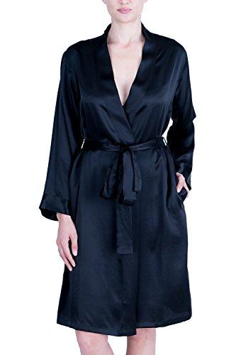 OSCAR ROSSA Women's Luxury Silk Sleepwear 100% Silk Robe Kimono, Black, ()
