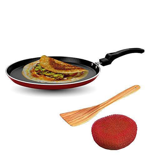 Sunblaze Aluminium Non-Stick Cookware Induction Base Multipurpose Flat Dosa, Paratha, Chapati and Roti Tawa Red 28 cm (Free 1 Sponge and 1 Spatula) ISI Approved with 1 Year Warranty