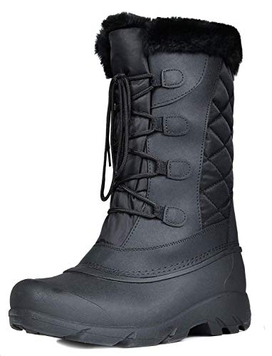 DREAM PAIRS Women's Linx Black Faux Fur Lined Mid Calf Winter Snow Boots Size 9 M US ()
