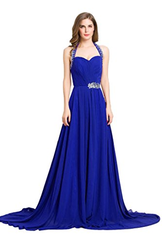 schulterfreies Abendkleid Königsblau Sweep mit Rüschen formale Beauty Schleppe Emily lange fq756S6