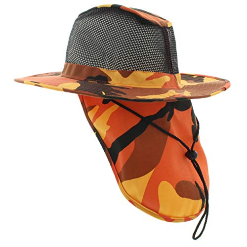 JFH Wide Brim Unisex Safari Outback Summer Hat with Neck Flap (FBN Orange Camo - Ultimate Hat Sun