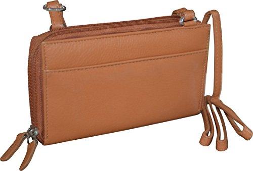 Paul & Taylor Women's Leather Double Zipper Clutch Wallet & Crossbody Bag (Tan) by Pielino