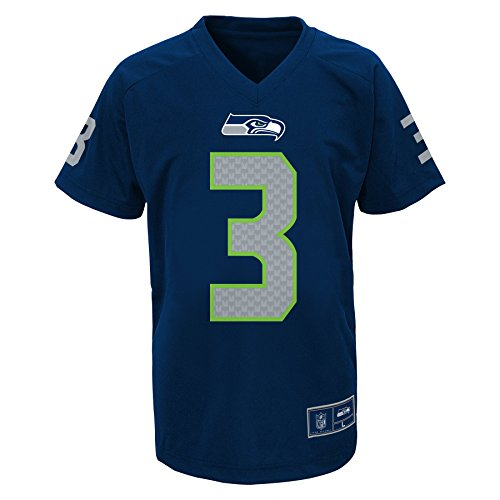 Russell Youth Football Jersey - OuterStuff NFL Boys 4-7 Russell Wilson Seattle Seahawks Boys -Name V-Neck Tee, Dark Navy, L(7)