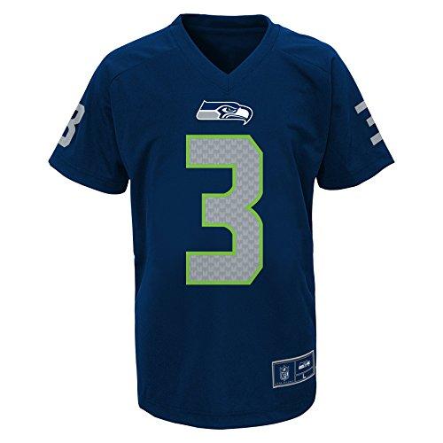 (NFL Boys 4-7 Russell Wilson Seattle Seahawks Boys -Name V-Neck Tee, Dark Navy, M(5-6))