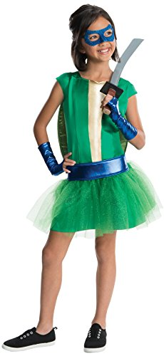 TMNT - Deluxe Leonardo Girl Tutu Kids Costume - Small (4-6) Katana Ninja Turtle Weapon