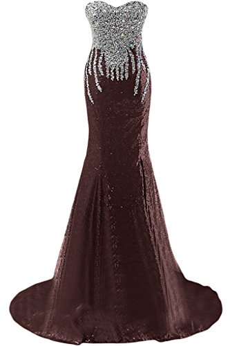 sunvary lentejuelas sirena Sweetheart cuentas Prom Fiesta Vestidos de Fiesta marrón