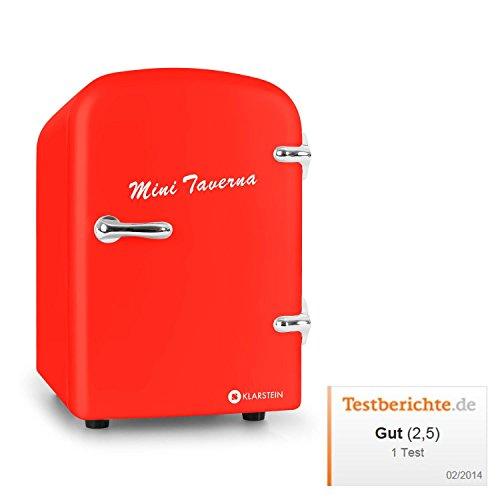 Klarstein Mini Taverna mobiler Minikühlschrank kleiner 4L Getränkekühlschrank Kühlbox (4 Liter, Tragegriff, Netz- oder via 12V-Betrieb, Regaleinschub) rot