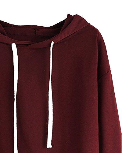 Minetom Top Autunno Top Maglione Manica Felpe A Maglie Sweatershirt Moda Donna Con Pullover Vino Crop Cappuccio Lunga Felpa Rosso grc1ASqg7w