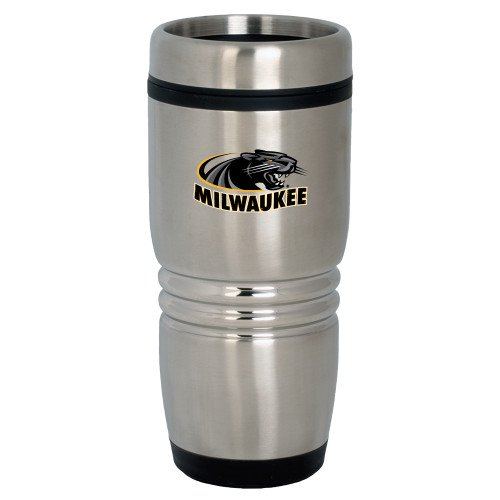 Wisconsin Milwaukee Rolling Ridges Silver Stainless Tumbler 16oz 'Official Logo' by CollegeFanGear