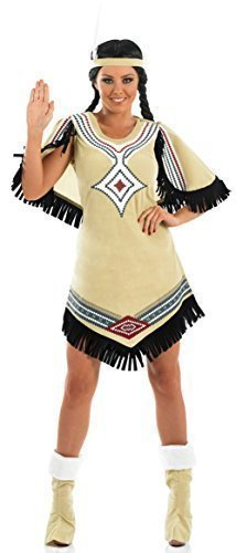 Ladies Pocahontas Native Indian Squaw Fancy Dress Costume Outfit 8-26 Plus Size (UK 24-26) -