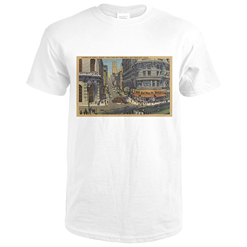 Cable Cars On Market and Powell Street San Francisco (Premium White T-Shirt - San Powell Francisco Street