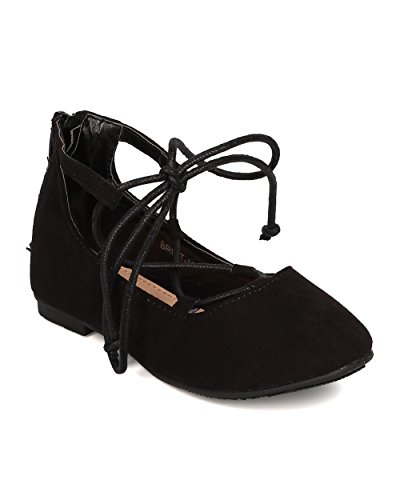 Price comparison product image Betani FB81 Faux Suede Gilly Tie Ballerina Flat (Toddler Girl / Little Girl) - Black (Size: Little Kid 11)