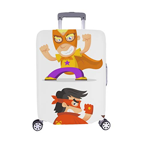 Cute Superhero Kids Pattern Spandex Trolley Case Travel Luggage Protector Suitcase Cover 28.5 X 20.5 Inch