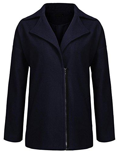 Women Pea Coat Plus Size, Lapel Drop Shoulder Zipper Casual Wool Blend Jacket (Blend Drop Wool Shoulder)