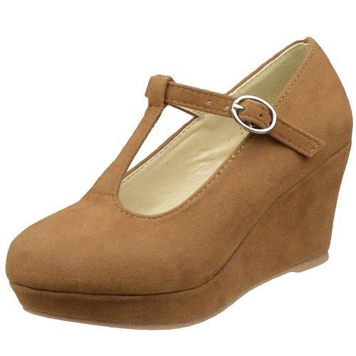Kids Dress Shoes Platform Wedge Closed Toe Pumps Brown SZ 9