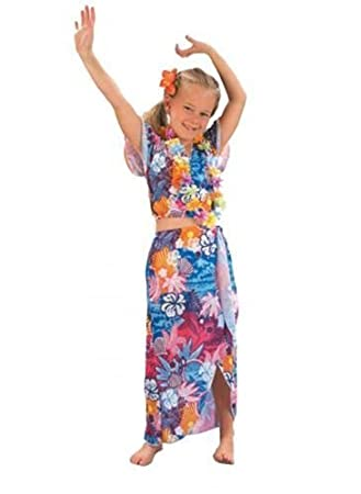 Childrens Hawaiian Hoola Dancer Girls Fancy Dress Costume Outfit Medium (Age 6-  sc 1 st  Amazon UK & Childrens Hawaiian Hoola Dancer Girls Fancy Dress Costume Outfit ...