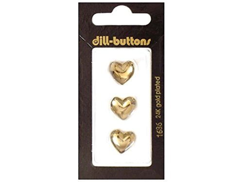 Dill Shank Buttons 9/16 in. Gold Heart #1686 3pc.