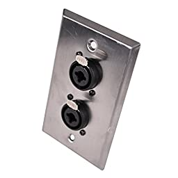 Seismic Audio SA-PLATE33 Stainless Steel Wall Plate Dual 1/4-Inch and XLR Combo Jacks for Cable Installation