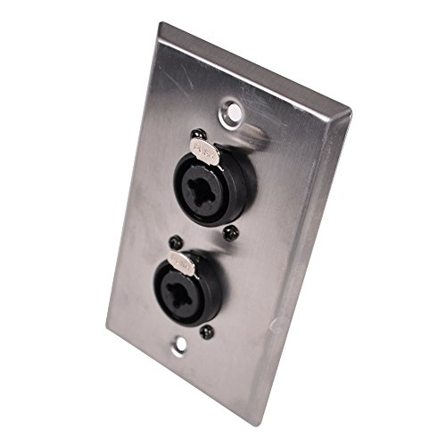 Seismic Audio - SA-PLATE33 - Stainless Steel Wall Plate - Dual 1/4 Inch and XLR Combo Jacks - Cable Installation - Steel Wall Jack